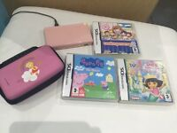 Nintendo ds , games , charger , pens and carry case bundle