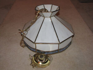 """Glass swag Tiffany Style lamp 18"""" wide $75.00"""
