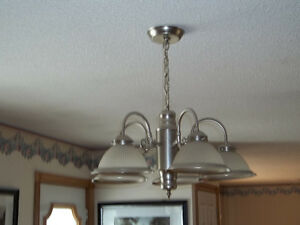 5 light brushed chrome chandelier