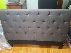 Queen upholstered head board and bed frame (dark grey)