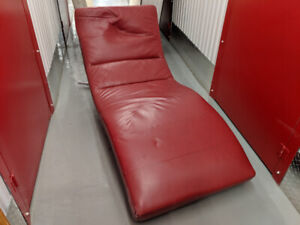 EQ3 // 100% Real Leather // Stylish, Red Chaise