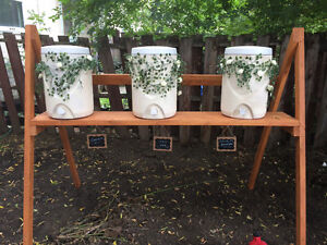 5 gallon jugs(x3) with stand