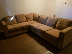 Microsuede sectional couch QUICK SALE