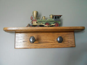Solid oak railroad spike coat/hat rack