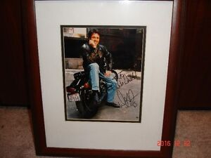 Signed Doug Gilmour Photo on his Harley