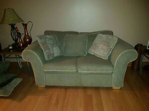 One love seat with throw pillows