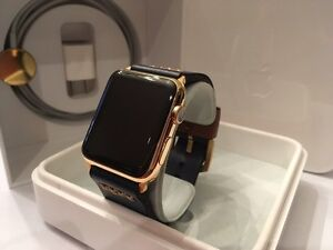 42MM 24K Gold Plated Apple Watch (Gen1) custom leather band West Island Greater Montréal image 2