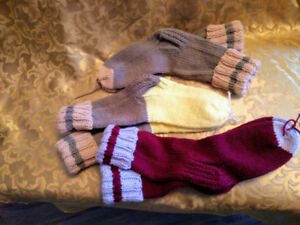 Hand knitted socks - 3 pairs - size 9 women - 100% acril. 15$ ea