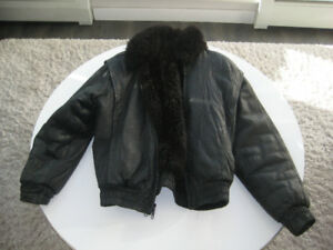 Andrew Marc Opossum Lined Fur Coat Bomber Leather Jacket