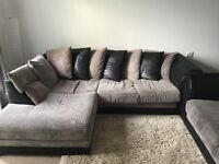 2 piece fabric sofa with scatter cushions