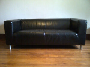 Sofa IKEA KLIPPAN - Faux Leather, Black