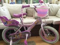 Fantastic Disney Princess Bicycle. Great Condition. 14in wheels,Stabillisers,Basket,Bell,Dolls Seat!