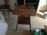 Antique Oak Glass Claw Foot Parlor Table