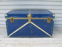 Good metal trunk 35 inches long x 19 1/2 w x 19 inches high $38