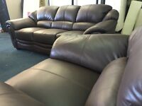 Ex Littlewoods Napoli real Italian leather chocolate brown three piece suite 3 seater sofa armchairs
