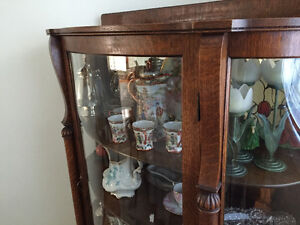 Victorian Antique Oak Curved Glass China Cabinet Kitchener / Waterloo Kitchener Area image 3