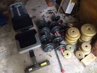 Weights bench and various weights