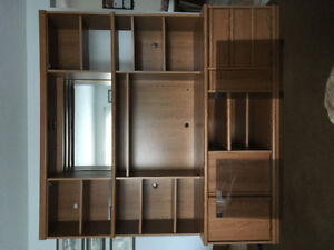 Wall Unit lighted and glass doors