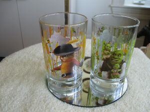 "PAIR of ""SHREK"" THICK GLASS COLLECTIBLE TUMBLERS"