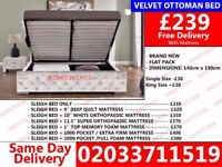 **Brand New Double Crush Velvet Storage Bed Available With Mattress Get It Today** Waipahu