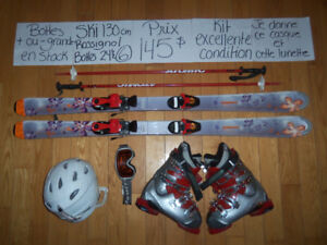 10 KITS ENSEMBLES DE SKI ALPIN & TWIN TIP 130 - 140 CM.