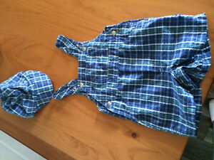 Boys plaid overall and hat set