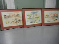 ALFRED BIRDSEY LOT of 3 Large Original Watercolour Paintings
