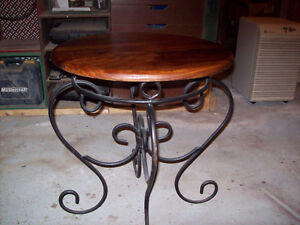 Beautiful solid cherry topped end table with wrought iron base London Ontario image 2
