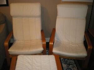 2 cream cloth IKEA chairs with stool