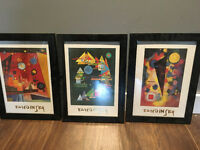 3 framed Kandinsky prints