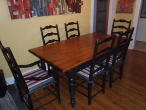 French Country Dining Set, Solid Wood, seats 6, rawhide weave