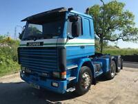 1990 H Scania R113 360 sleeper cab 6x2 rear lift tractor unit, genuine!