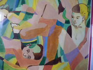 "Modern Abstract Figures, Listed Artist Joyce Kellock ""Six Girls"" Stratford Kitchener Area image 4"