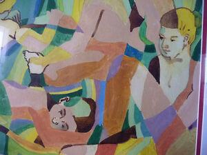 "Modern Abstract Figures, Listed Artist Joyce Kellock ""Six Girls"" Stratford Kitchener Area image 4"