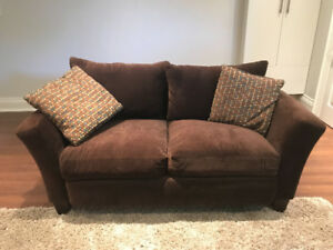 ROWE BROWN CONDO SOFA AND OTTOMAN FOR SALE - $400 or OBO