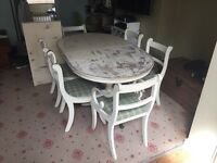 Table and 6 chairs with extension piece