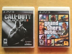 Jeux Ps3: GTA V - Call of Duty Black Ops 2 - 15$ch