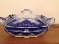 "Samuel Ford & Sons Burslem Staffordshire ""Blue Flow"" Lonsdale Pattern Covered Vegetable Dish c.1895"