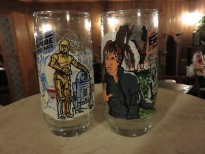 TWO ORIGINAL STAR WARS GLASSES C3PO AND LUKE SKYWALKER, NEW COND