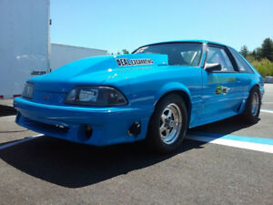 1987 FORD MUSTANG DRAG CAR. 627HP BIG BLOCK FORD