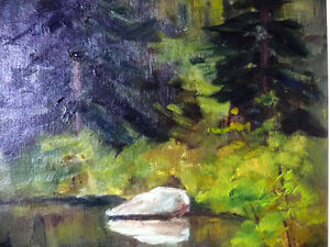 """Original Oil Painting by Blanche Ducharme """"Peaceful Pond"""" 1960's Stratford Kitchener Area image 4"""