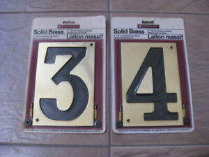 House numbers 3 and 4 solid brass
