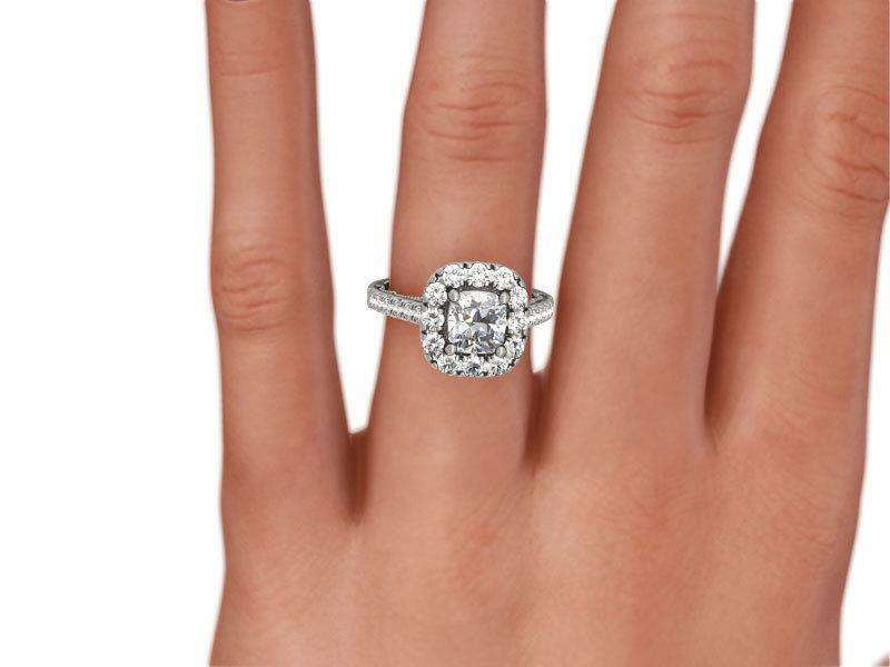 Diamond Halo Ring Appraised 2 Ct Accents Solid 14k White Gold Ornamented Womens