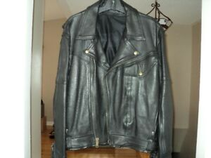 Black leather motorcycle jacket from Screaming Eagle