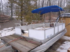Pontoon boat 16 by 8 feet with trailer