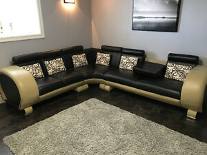 European Black/Dark Beige Leather Couch