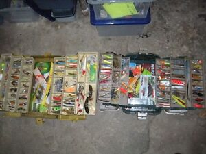 2, medium possum belly tackle boxes loaded with lures, plastics