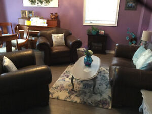 Quality Leather Loveseat with Two Chairs