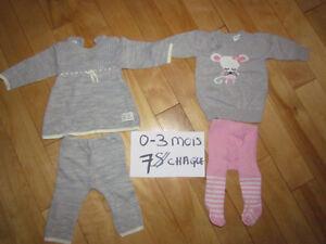 Habits variés bébé fille 0-3 mois Saguenay Saguenay-Lac-Saint-Jean image 1