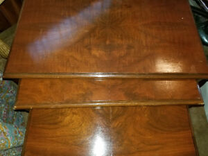 ANTIQUE Set of 3 Side TABLES End Tables SOLID WOOD Walnut
